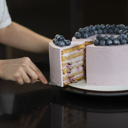 "Sponge honey cake ""Billberry tenderness"""