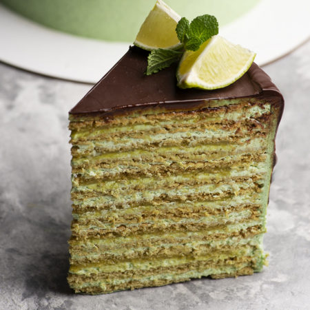 Mint and lime honey cake