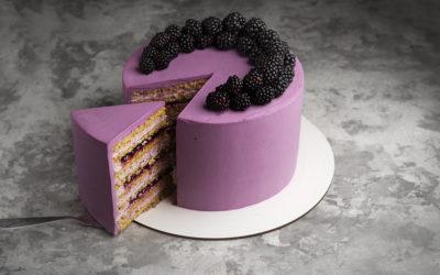 Бисквитный медовый торт с черной смородиной
