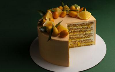 Апельсиновый бисквитный медовый торт