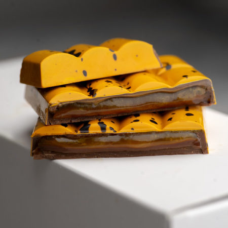 Mango and passion fruit chocolate bar