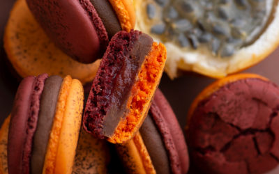 Passion fruit, milk chocolate and blood orange macaron