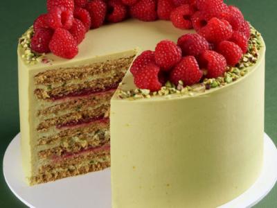 Pistachio Raspberry Honey Cake
